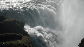 Giant waterfall in slow motion. Amazing giant waterfall in Iceland stock footage