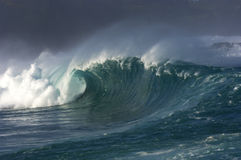 Giant wave. Crashing down in shallow waters of hawaii Royalty Free Stock Photos