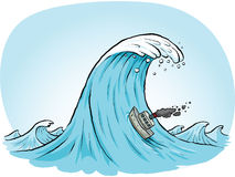 Giant Wave Climb. A tiny, cartoon boat blows smokes as it tries to climb a massive wave Stock Image