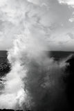 Giant Wave Crashing On Burren Cliffs Stock Photo