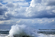 Storm Wave. A giant wave raising above the sea's water surfaced, its surf scattered by the strong wind under the heavily overcast winter sky Royalty Free Stock Photography