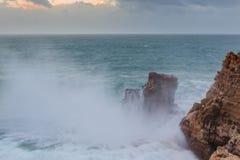Giant waves in Sagres bay. Stock Photos
