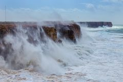 Giant waves during a storm in Sagres, Costa Vicentina. Royalty Free Stock Photography