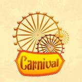 Giant wheel in Carnival. Vector illustration of giant wheel in retro carnival poster royalty free illustration