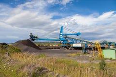 A giant wheel excavator in brown coal mine Stock Photo