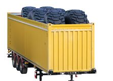 Giant wheels. In yellow truck Stock Images