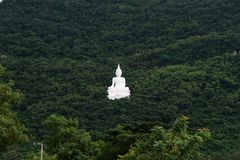 Giant white image of Buddha with green mountain 1 Royalty Free Stock Photo