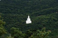 Giant white image of Buddha with green mountain 1 Royalty Free Stock Photo