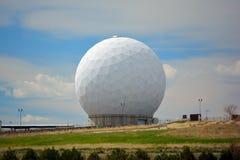 Giant White Radar Ball on a Sunny Day Stock Photo