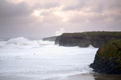 Giant white waves and cliffs on the wild atlantic way Stock Photos