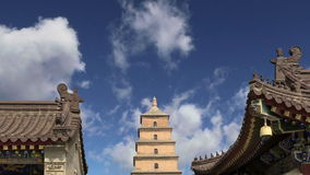 Giant Wild Goose Pagoda or Big Wild Goose Pagoda, is a Buddhist pagoda located in southern Xian Sian, Xi`an, China stock video footage
