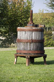 Giant winepress barrel on a garden Royalty Free Stock Photos