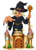 A giant witch at the back of a castle. Illustration of a giant witch at the back of a castle on a white background Stock Image