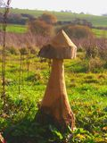 Giant Wooden Mushroom Against British Countryside. Giant wooden mushroom in Yeovil Country Park, Somerset, England, looking out across British countryside royalty free stock photo