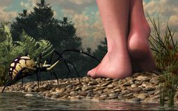 The Hazards of Barefoot Hiking stock illustration