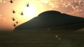 Giantic vreemd ruimteschip die in de woestijn landen vector illustratie