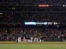 Giants baseball team celebrates walk off win over the Washington Royalty Free Stock Photos