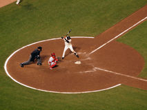 Giants batter Edgar Renteria stands in batters box with Carlos Royalty Free Stock Images