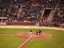 Giants batter moves out of way of incoming pitch to avoid being Royalty Free Stock Photography