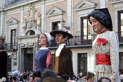Giants and big heads in Plaza de la Villa, Madrid royalty free stock image
