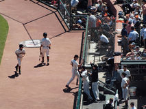 Giants Brian Wilson gives high fives in the dugout. Giants Vs. Orioles: Giants pitcher Brian Wilson gives high fives as he enters the dugout after successfully Stock Photos
