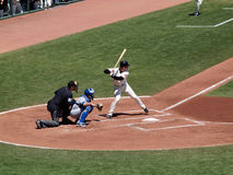 Giants Buster Posey lifts foot in the batters box Royalty Free Stock Photo