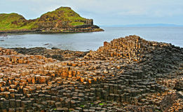 Giants Causeway Basalt Hexagonal Columns Stock Photography