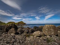 Giants Causeway in North Ireland is a popular landmark at the coast. Travel photography royalty free stock photo