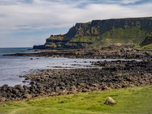Giants Causeway in North Ireland is a popular landmark at the coast. Travel photography royalty free stock photography