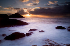 Giants Causeway at sunset. Bushmills, Northern Ireland, 4th October 2014. Unesco World Heritage site The Giants Causeway at sunset Stock Image