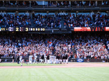 Giants Celebrate a win with their fans Royalty Free Stock Photography