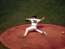 Giants closer Brian Wilson steps forward to throw pitch Royalty Free Stock Images
