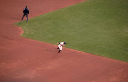 Giants Cody Ross runs to third base from second trying to steal Royalty Free Stock Images