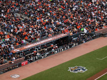 Giants Dugout, players stand watching action NLCS Stock Photography
