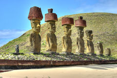 Giants en pierre sur Rapa Nui Photographie stock libre de droits
