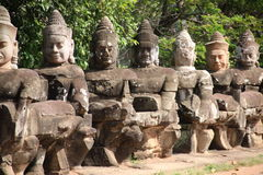 Giants in Front Gate of Angkor Thom Royalty Free Stock Photography