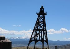 Giants of gold in Butte, Montana. One of the many mining derricks that they used in the past to mine copper, ore and gold. richest hill on earth Stock Photography