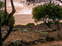 Giants grave, Arzachena, Sardinia. Giants grave (Italian: Tomba dei Giganti). This Sardinian megalithic gallery grave was built during the Bronze Age by the Stock Photography