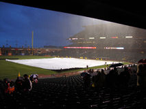 Giants Grounds Crew Uses Tarp To Cover Infield To Save It From Rain Royalty Free Stock Image