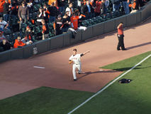 Giants Madison Bumgarner step forward to throws pitch in bullpen Stock Image