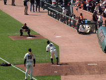 Giants Matt Cain releases throw to Catcher Royalty Free Stock Photography