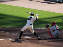Giants Matt Cain sets to swing at incoming pitch Royalty Free Stock Photography