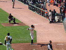Giants Matt Cain steps forward to throw to Catcher Royalty Free Stock Photos