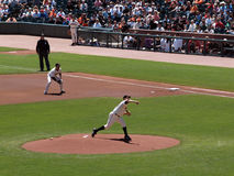 Giants Matt Cain throws pitch Royalty Free Stock Image