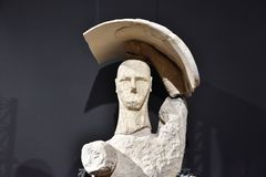 The Giants of Mont`e Prama are ancient stone sculptures created by the Nuragic civilization of Sardinia, Italy. Cabras, province of Oristano, Sardinia, 2 August stock image
