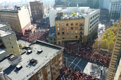 Giants Parade in Downtown San Francisco. Aerial view of the baseball celebration Stock Photography
