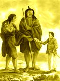 Giants of the Patagonia Yellow. Conceptual work: An Englishman giving biscuit to a couple of Patagonian Giants and his son. Work based on a drawing from 1769 vector illustration