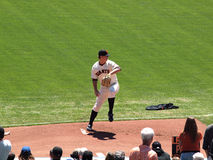 Giants Pitch Matt Cain steps forward to throw Royalty Free Stock Photos