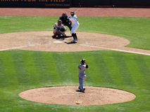 Giants pitcher throws ball toward homeplate royalty free stock photo