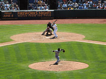 Giants pitcher throws ball toward homeplate Royalty Free Stock Image